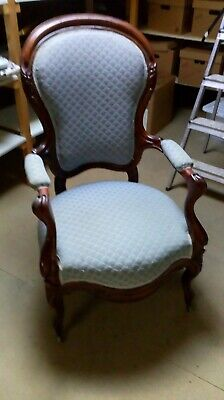 Lovely Solid Victorian Walnut Armchair Salon Chair Pale Blue Upholstery