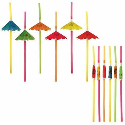 Cocktail Umbrella Straw Tropical Hawaiian Party Accessories Assorted Colour 72pc