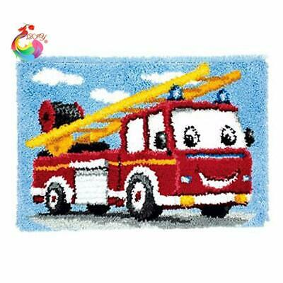 """Patchwork Latch hook rug kits Needle work thread embroidery """"Fire Engine"""" 52x..."""