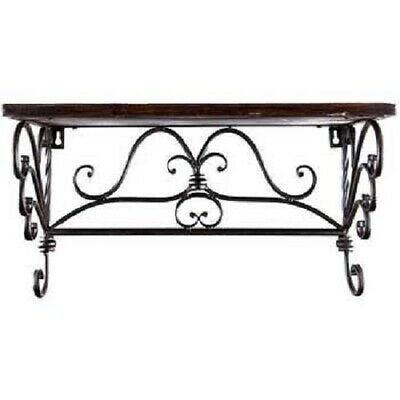 Corner Shelf Wall Dark brown Wood Shelf With Black Iron Scroll Detail