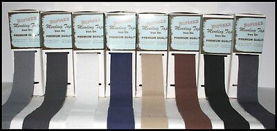 1m 1 Metre Iron On Fabric Repair Tape Mending x 35mm Choice of Colours