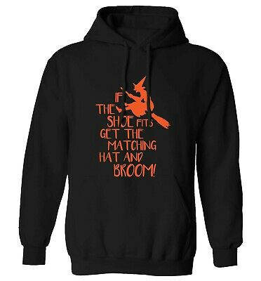 If the shoe fits, hoodie / sweater Halloween witch broomstick cat hat spell 5314