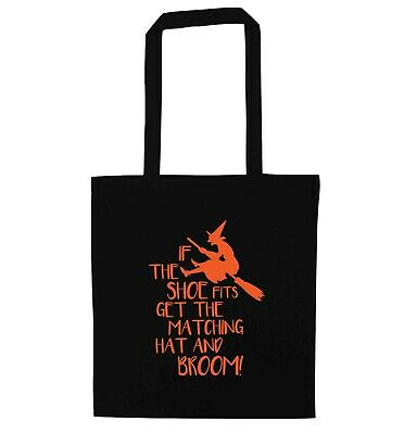 If the shoe fits, kid's tote bag Halloween witch broomstick spell cat black 5314