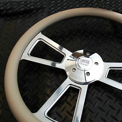 """18"""" Polished Billet Style Steering Wheel 5-Hole with Horn and Grey Vinyl Grip"""
