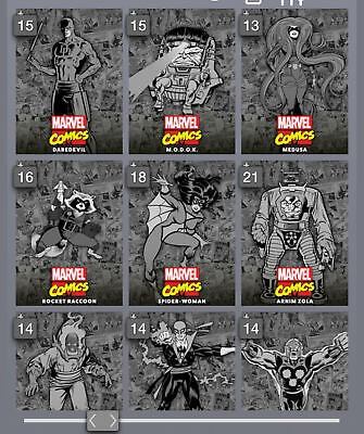 Topps Marvel Collect Card Trader Classic Box Base Series Black & White Set +Awrd