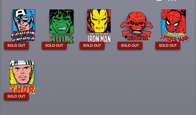 Topps Marvel Collect Card Trader Classic Box Base Series Badges Set of 5 + Award