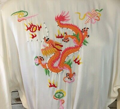 Vintage Health Shanghai Chinese White Robe Embroidered Chinese Dragon Unisex