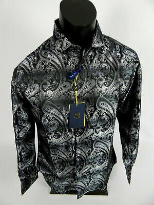 Mens Manzini Dress Shirt Purple and Gold Paisley French Cuff Links Button Front