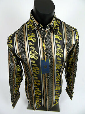 Mens Manzini Shirt Bronze and Golden Striped Paisley Cuff Links Button Front
