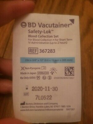 BD Vacutainer Safety-Lok Blood  Collection Set. 23G butterfly winged