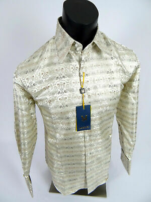 Mens Manzini Shirt Tan Gold Shiny Silver Floral Paisley Cuff Links Button Front