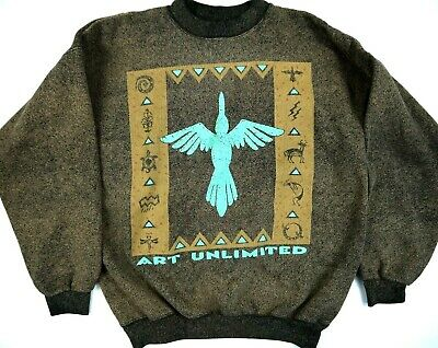 VINTAGE AZTEC sweatshirt 90s ART UNLIMITED INDIAN ACID WASH MADE IN USA mens XL