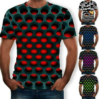 Funny Hypnosis 3D T-Shirt Men Women Colorful Print Short Tops Casual Sleeve Q0V4