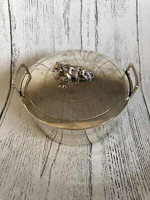 Silver Plated Lidded Sugar Bowl Butter Dish With Cow Finial Knob