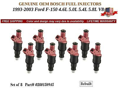 8x Bosch OEM Fuel Injectors for 2003-2004 Ford F-150 5.4L V8 Part# 0280158044