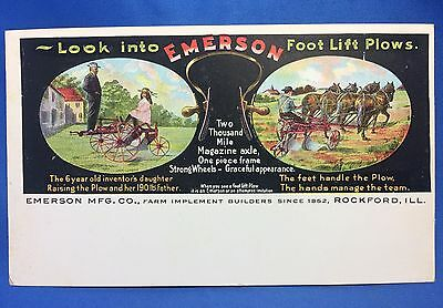 c 1900 EMERSON PLOW Farm advertising Postcard ROCKFORD Ill Antique Original