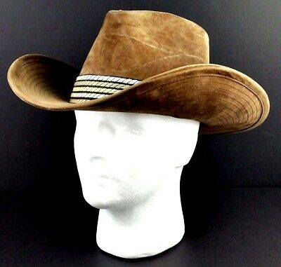 7ad7cbc5f VINTAGE LANNING SNOWY River Brown Cowboy Hat Braided Leather M Wool ...