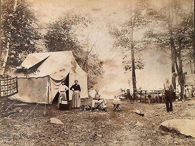 Antique Victorian Cabinet Card Western Frontier Family Camping Lake Dog Tent