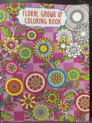 New - Adult Floral Colouring Book - Design 3 - 24 Pages