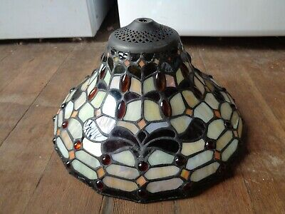 Vintage Leaded Stained Glass Lamp or Pendant Shade Helmet Iridescent W Jewels