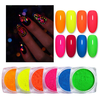 BORN PRETTY 2g Nail Art Powder Fluorescence Yellow Nail Pigment Dust in Box