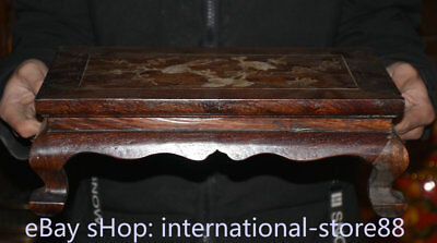 "14.4"" Rare Old China Dynasty Huanghuali Wood Inlay Shell Flower Birds Table Desk"