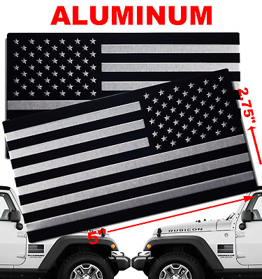 "3D Metal MIRRORED US American Flag Sticker Decal Emblems SET (5"" x 2.75"")"