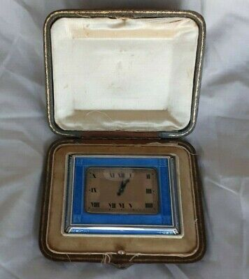 Antique Sterling Silver & Blue Enamel Travel Clock - Theodore B Starr
