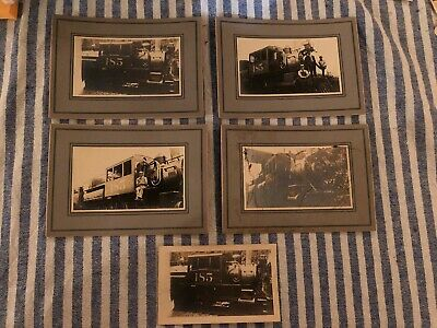 Lot Of Five Antique Victorian Cabinet Cards Train, Locomotive, Conductor