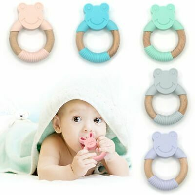 Baby Teether Animal Frog Shape Silicone Wooden Ring Chew Toy Nursing Accessories