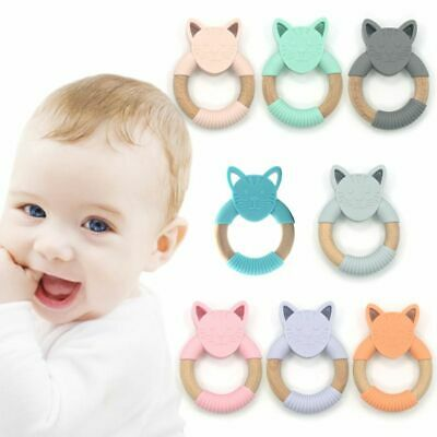 Baby Infants Nursing Accessories Teether Cartoon Silicone Wooden Kids Chew Toy