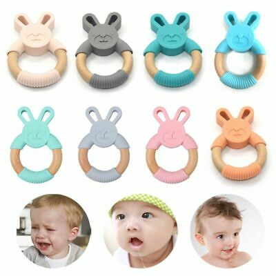 New Newborn Infants Nursing Accessories Baby Teether Silicone Wooden Ring Toys