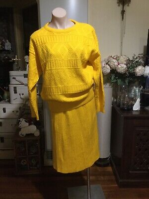 Vintage Bright Yellow Knit Suit Jumper Straight A Line Skirt Size 12-14
