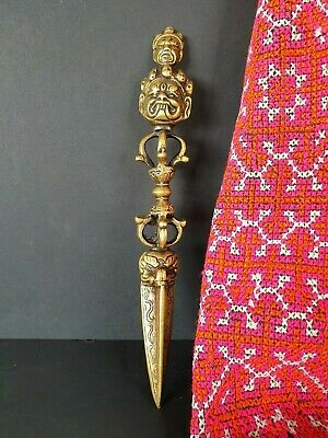 Tibetan Bronze / Brass Phurba Dagger …beautiful display & collection piece