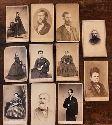 Lot Of 11 Victorian Cabinet Cards, Fashion Clothing Men Women Full Portrait
