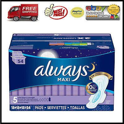 Always Maxi, Size 5, Extra Heavy Overnight Pads With Wings, Unscented (54 ct.)