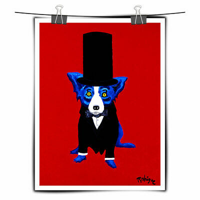 Cartoon Animal Blue Dog Art Painting HD Print Canvas Home Wall Art Decor 10x14