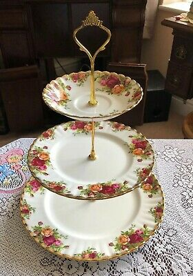 """Lovely Royal Albert Bone 3 Tier Large Cake Stand """"Old Country Roses"""""""