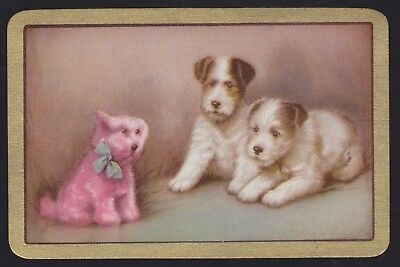 1 Single VINTAGE Swap/Playing Card ENN TERRIER DOGS TOY DOG 'FUN FROLICS FU-3-1