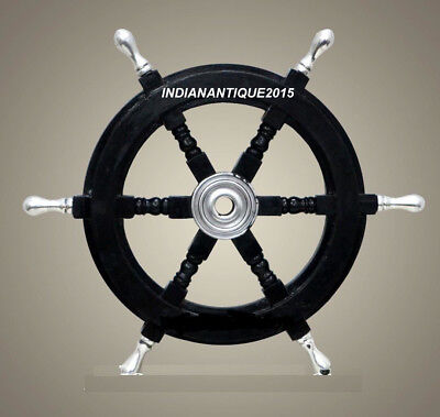 24 Inches Black Wooden  Ship Wheel Nautical Wall Decor Item