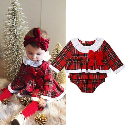 UK Xmas Newborn Toddler Baby Girl Clothes Lace Romper Dress Jumpsuit Outfit