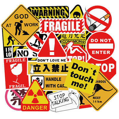 50Pc Warning Stickers Waterproof Decal Sticker Bomb To Laptop Luggage Skateboard
