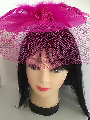 Wedding Party Carnival Races Feather Millinery Fascinator Hat Pink Purple Red