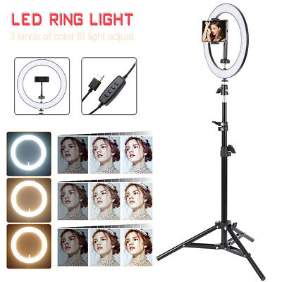 "10"" LED Ring Light Dimmable Lighting Phone Selfie Tripod Makeup Youtube Live H"