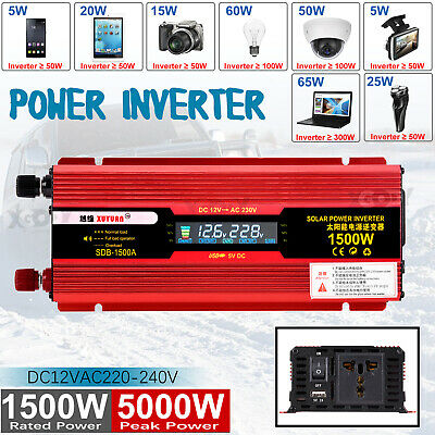 3000/4000/5000W Solar Power Inverter DC12V to AC220/240V Modified Sine Converter