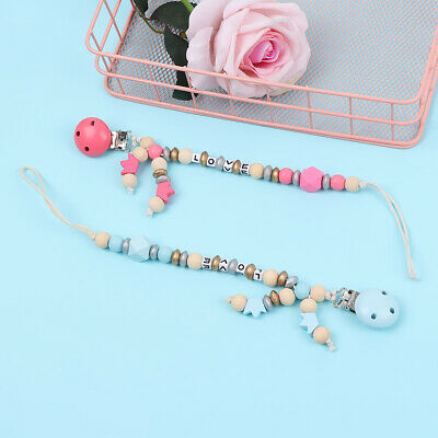 Wood Beads Dummy Holder  Teething Toy  Baby Nipple Clips Pacifier Clip Chain
