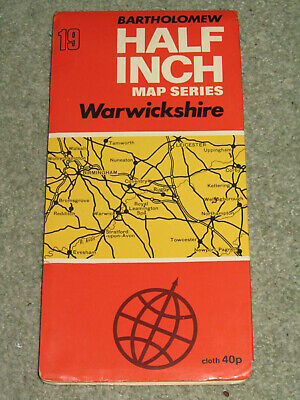 Bartholomews Half Inch Map - Warwickshire - sheet 19 - on cloth - 1969