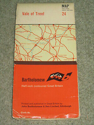 Bartholomews Half Inch Map - Vale of Trent - sheet 24 - on cloth - 1966