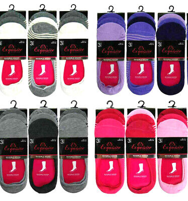 3-6-  12 Pairs Of Womens/Ladies Invisible Trainer Shoe Socks Liners Size 4-7 New