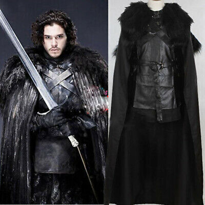 Mens Boys Game of Thrones Jon Snow Costume Medieval Knight Song of Ice & Fire AU